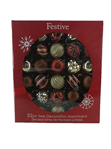 Festive 52 Piece Assorted Bauble Christmas Ornament Set Maroon Gold 0 0