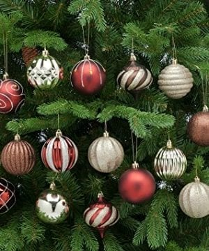 Festive 52 Piece Assorted Bauble Christmas Ornament Set Maroon Gold 0 1 300x360