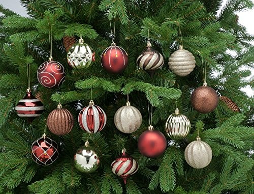 Festive 52 Piece Assorted Bauble Christmas Ornament Set Maroon Gold 0 1