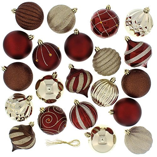 Festive 52 Piece Assorted Bauble Christmas Ornament Set Maroon Gold 0