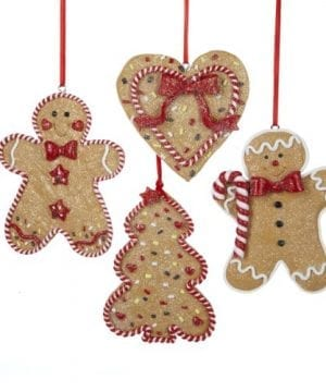Gingerbread Men Tree And Heart Ornament Set OF 4 0 300x360