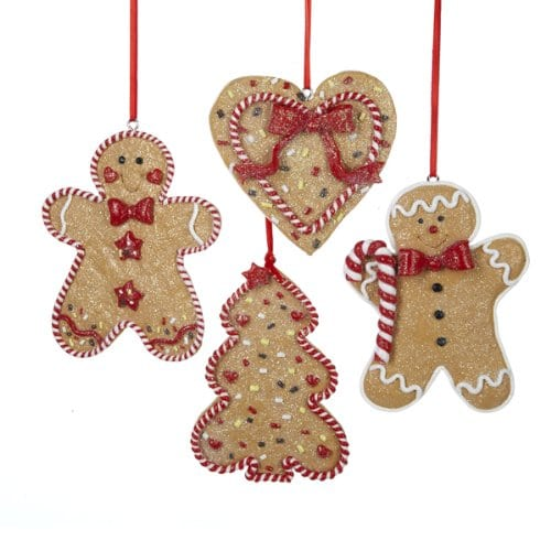 Gingerbread Men Tree And Heart Ornament Set OF 4 0