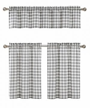 GoodGram 3 Pc Plaid Country Chic Cotton Blend Kitchen Curtain Tier Valance Set Assorted Colors 0 300x360