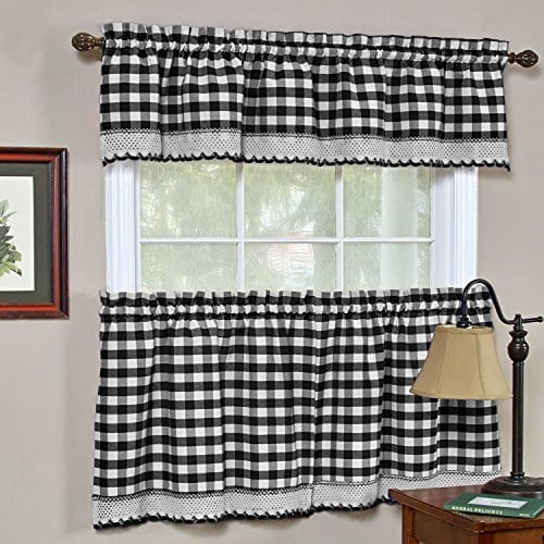GoodGram Buffalo Check Plaid Gingham Custom Fit Window Curtain Treatments By Assorted Colors Styles Sizes 0 0