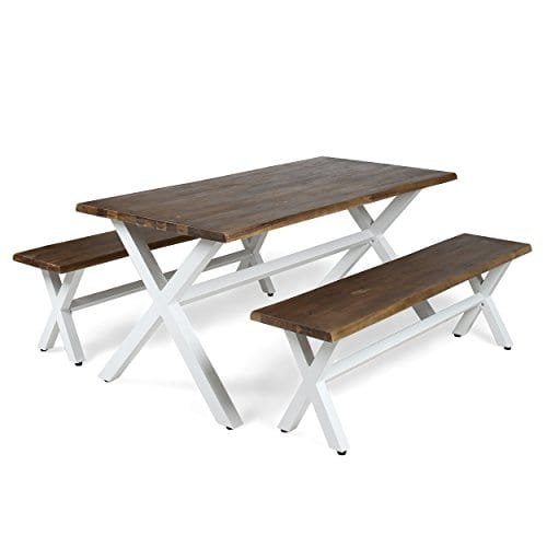 Great Deal Furniture Cassie Outdoor Faux Live Edge 3 Piece