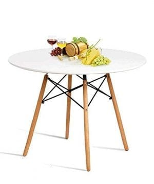 HYhome Kitchen Dining Table Round Coffee Table Modern Leisure Wood Tea Table Office Conference Pedestal Desk With Natural Wooden Legs And MDF Top White 0 300x360