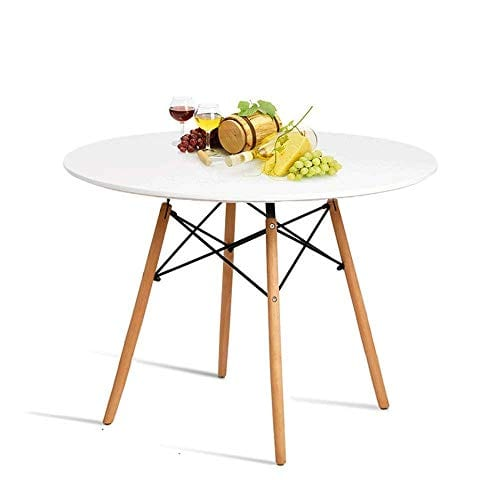 Hyhome Kitchen Dining Table Round Coffee Modern Leisure Wood Tea Office Conference Pedestal Desk With Natural Wooden Legdf Top