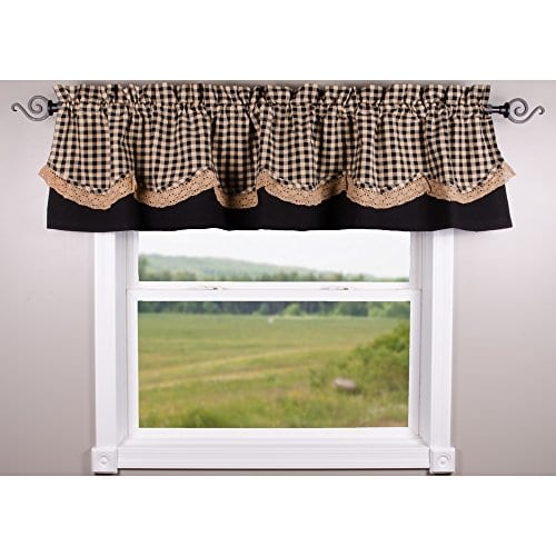 Home Collections By Raghu 72x155 Black And Nutmeg Heritage House Lace Fairfield Valance 0 0