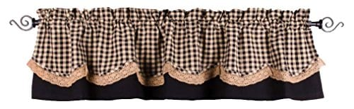Home Collections By Raghu 72x155 Black And Nutmeg Heritage House Lace Fairfield Valance 0