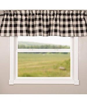 Home Collections By Raghu 72x155 Buffalo Check Black Buttermilk Valance 0 0 300x360