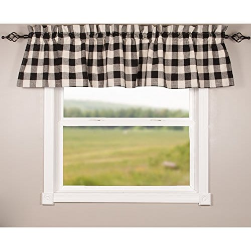 Home Collections By Raghu 72x155 Buffalo Check Black Buttermilk Valance 0 0