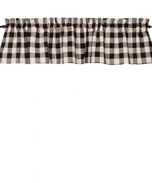 Home Collections By Raghu 72x155 Buffalo Check Black Buttermilk Valance 0 300x360