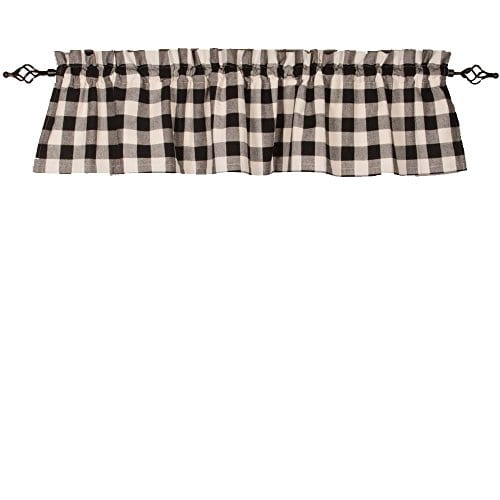 Home Collections By Raghu 72x155 Buffalo Check Black Buttermilk Valance 0
