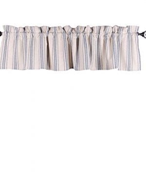Home Collections By Raghu 72x155 Grain Sack Stripe Colonial Blue Cream Valance 0 300x360