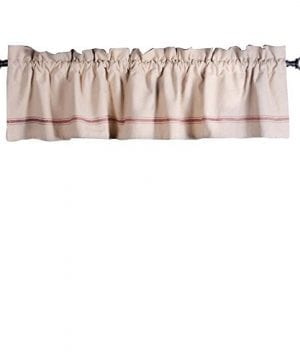 Home Collections By Raghu 72x155 Stripe Barn Red Valance Grain Sack 0 300x360