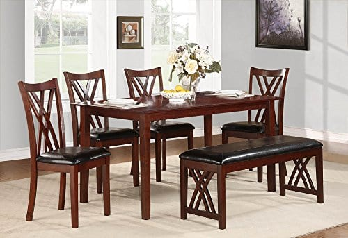 Homelegance Brooksville 6 Piece Dining Table Set With Bench Cherry 0 0