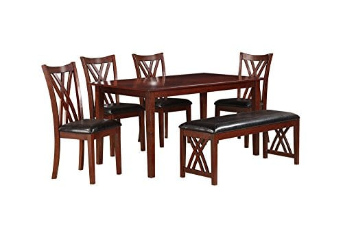 Homelegance Brooksville 6 Piece Dining Table Set With Bench Cherry 0