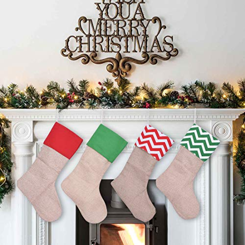 Burlap Christmas Stockings.Jinsey Burlap Christmas Stockings Set 18 For Christmas Decorations Or Diy