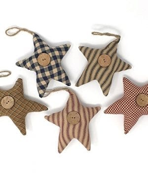 Jubilee Creative Studio Set Of 5 Homespun Fabric Star Rustic Farmhouse Ornaments 0 300x360