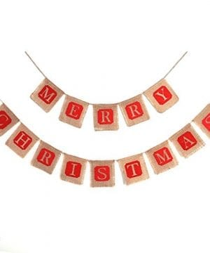 Konsait 2 In 1 Christmas Burlap Banner Christmas Party Bunting Banner Garland For Fireplace Picture Outdoor Indoor DecorationsXmas Home Photo Prop Party Decor Favors Supplies 0 300x360