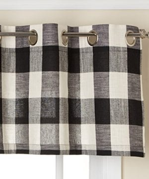 LORRAINE HOME FASHIONS 09570 63 00146 Black Courtyard Grommet Window Curtain Panel 0 300x360