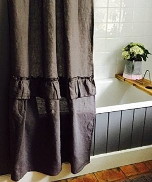 Linen Shower Curtain Linen Curtain Perfect For Farmhouse Decor 0 0 300x360