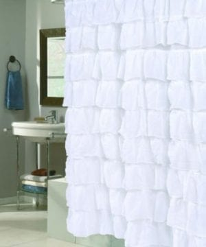 Lorraine Home Fashions 08383 SC 00001 Gypsy Shower Curtain White 70 X 72 0 300x360