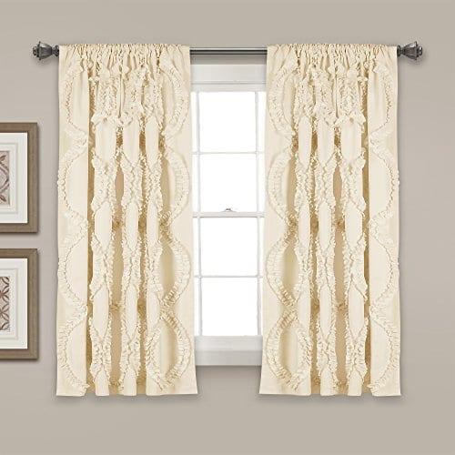 Lush Decor Lush Dcor Avon Single Window Curtain Panel 63 X 54 Ivory 0