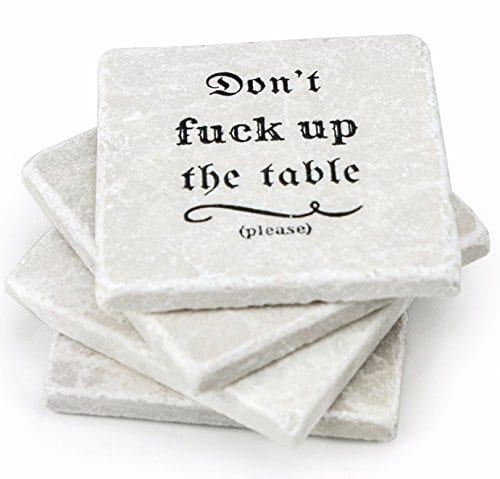 Marble Coasters For Drinks Housewarming Gift Funny Home Kitchen Living Room Coffee Table Or Bar Decoration 0