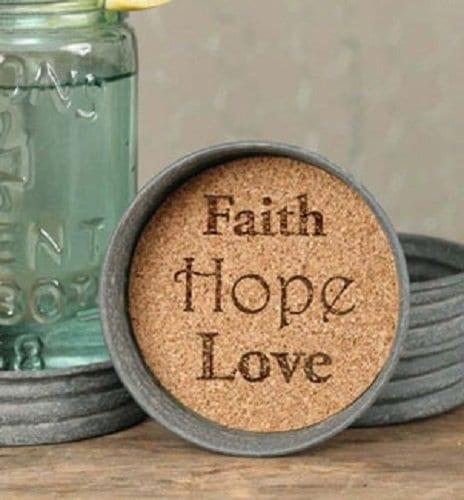 Mason Jar Lid Coaster Faith Hope Love Mason Jar Lid Coaster Faith Hope Love 0