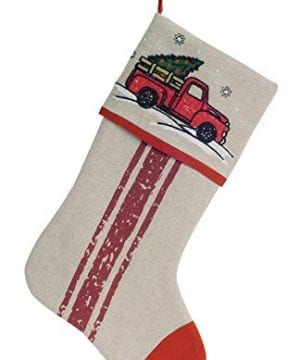 Melrose International Nostalgic Pickup Truck With Christmas Tree Stocking Beige 18x11 Inches 0 300x360