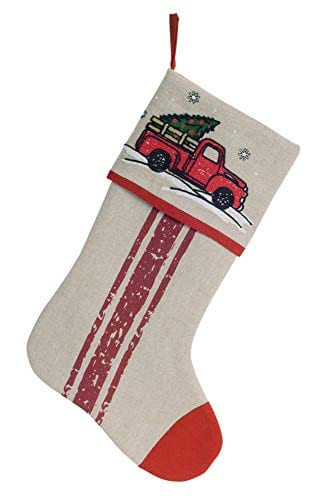 Melrose International Nostalgic Pickup Truck With Christmas Tree Stocking Beige 18x11 Inches 0