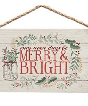 Merry Bright Holly Wreath Whitewash 6 X 35 Wood Mini Wall Hanging Plaque Sign 0 300x360