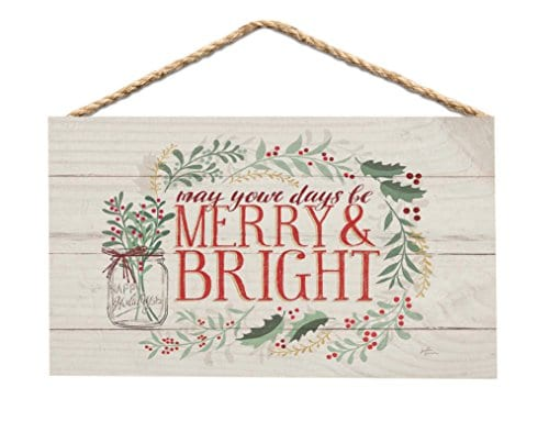 Merry Bright Holly Wreath Whitewash 6 X 35 Wood Mini Wall Hanging Plaque Sign 0