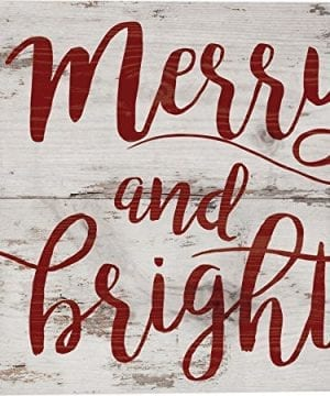 Merry Bright Script Christmas Whitewash 7 X 7 Wood Boxed Pallet Wall Plaque Sign 0 300x360