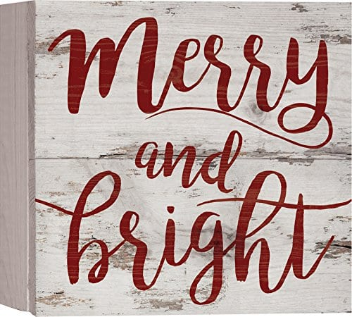 Merry Bright Script Christmas Whitewash 7 X 7 Wood Boxed Pallet Wall Plaque Sign 0