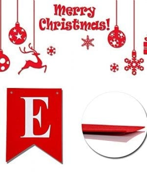 Merry Christmas Banner 14 PCS 16ft Christmas Garland 3D Letters Non Woven Fabric Banner Rustic Christmas Garland Christmas Decor With 5 Meters White Ribbon 0 0 300x360