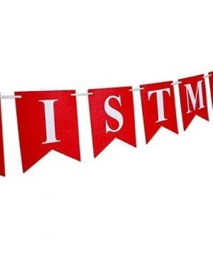 Merry Christmas Banner 14 PCS 16ft Christmas Garland 3D Letters Non Woven Fabric Banner Rustic Christmas Garland Christmas Decor With 5 Meters White Ribbon 0 2 300x360