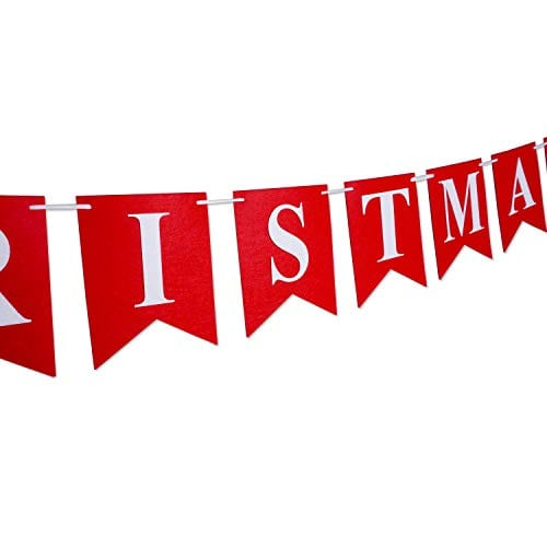 Merry Christmas Banner 14 PCS 16ft Christmas Garland 3D Letters Non Woven Fabric Banner Rustic Christmas Garland Christmas Decor With 5 Meters White Ribbon 0 2