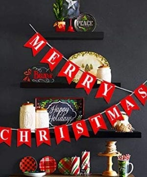 Merry Christmas Banner 14 PCS 16ft Christmas Garland 3D Letters Non Woven Fabric Banner Rustic Christmas Garland Christmas Decor With 5 Meters White Ribbon 0 3 300x360