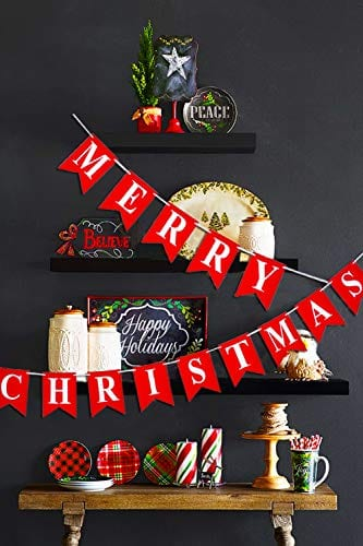 Merry Christmas Banner 14 PCS 16ft Christmas Garland 3D Letters Non Woven Fabric Banner Rustic Christmas Garland Christmas Decor With 5 Meters White Ribbon 0 3