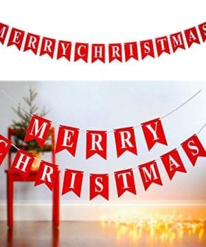 Merry Christmas Banner 14 PCS 16ft Christmas Garland 3D Letters Non Woven Fabric Banner Rustic Christmas Garland Christmas Decor With 5 Meters White Ribbon 0 300x360