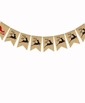 Merry Christmas Burlap Banner Bunting Photo Props Garland Xmas Home Party Decorations 0 0 300x360