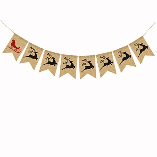 Merry Christmas Burlap Banner Bunting Photo Props Garland Xmas Home Party Decorations 0 0