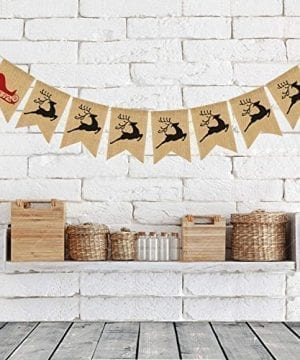 Merry Christmas Burlap Banner Bunting Photo Props Garland Xmas Home Party Decorations 0 300x360