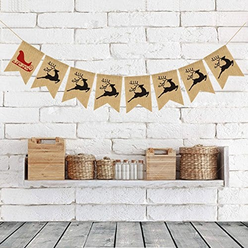 Merry Christmas Burlap Banner Bunting Photo Props Garland Xmas Home Party Decorations 0