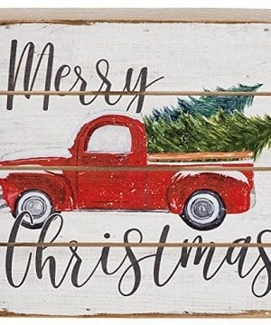 Merry Christmas Vintage Red Farm Pickup Truck Wood Pallet Sign 6 Inch Square Stand Or Hang 0 300x360