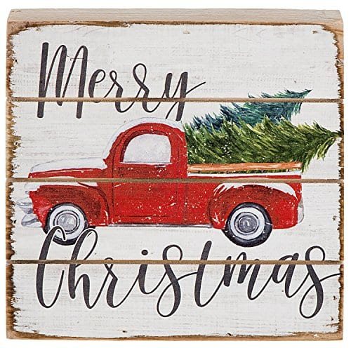 Merry Christmas Vintage Red Farm Pickup Truck Wood Pallet Sign 6 Inch Square Stand Or Hang 0