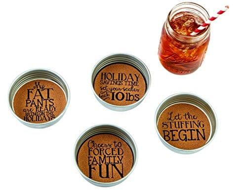 Mud Pie 4255016 Holiday Mason Jar Coasters 0