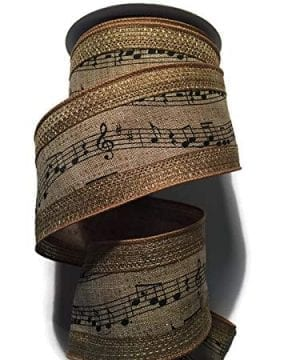 Music Notes RibbonChristmas Tree Garland In Classic Black And Tan 25 Wide X 10 Yards 0 300x360